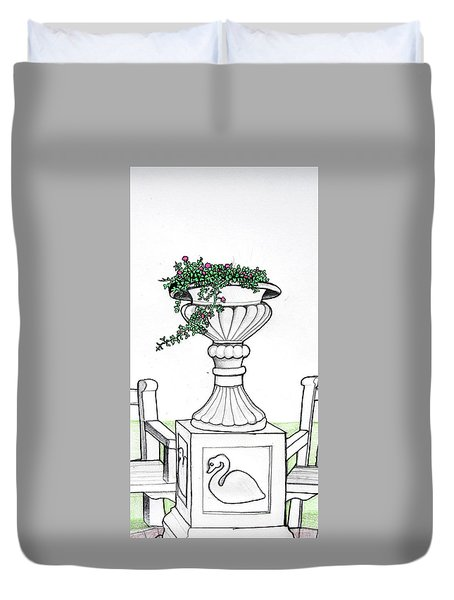 Duvet Cover featuring the drawing Foliage Fountain by Mary Ellen Frazee