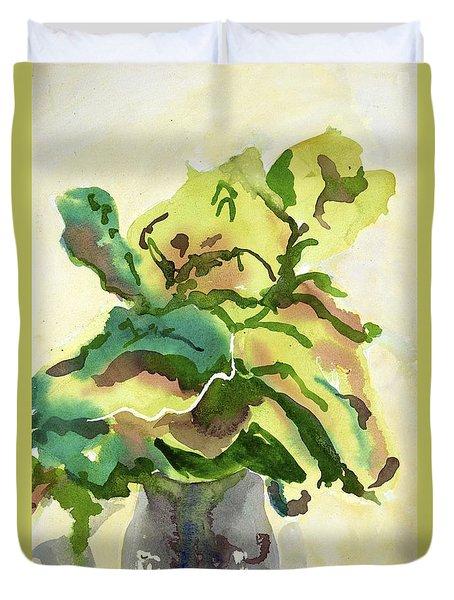 Foliage In Vase Duvet Cover