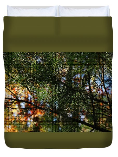 Duvet Cover featuring the photograph Foliage Tilework by Margie Avellino