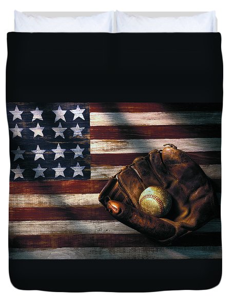Folk Art American Flag And Baseball Mitt Duvet Cover