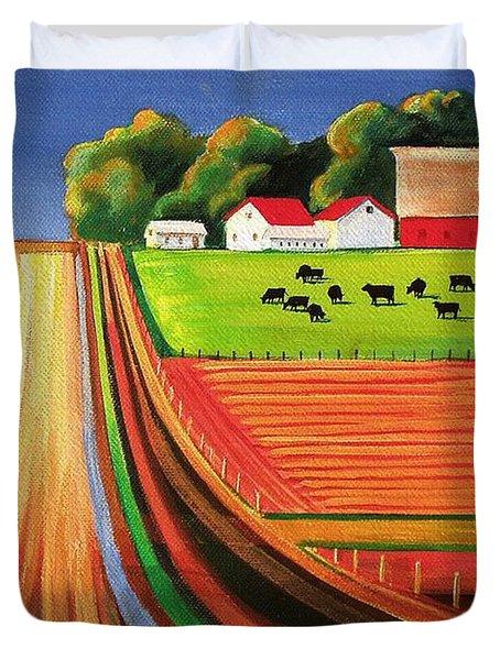 Folk Art Farm Duvet Cover by Toni Grote