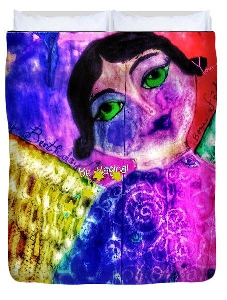 Folk Art Happy Birthday Angel Duvet Cover