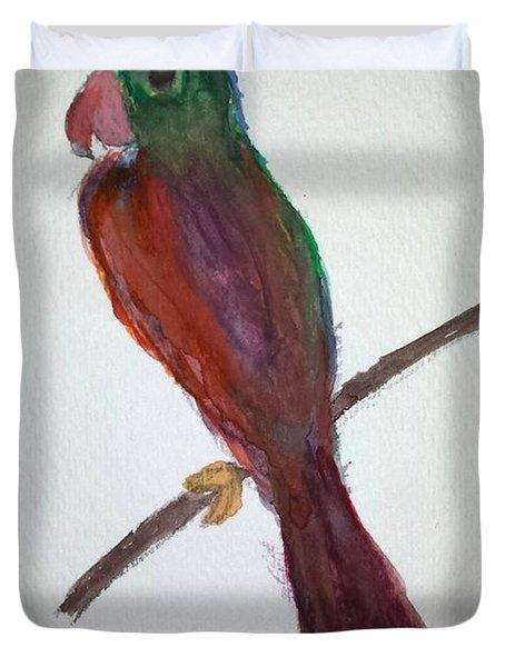 Folk Art Parrot Duvet Cover