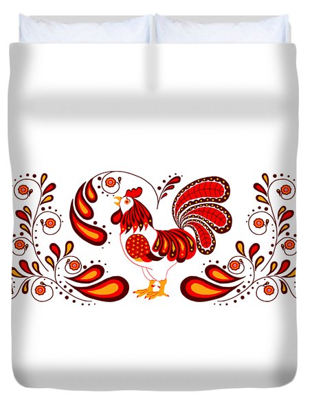 Folk Art Rooster In Red Duvet Cover