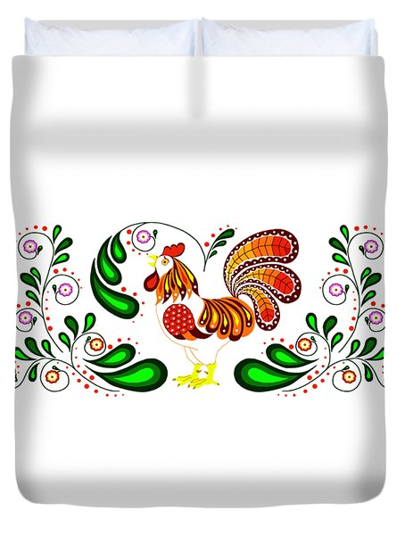 Folk Art Rooster Multi Color Duvet Cover