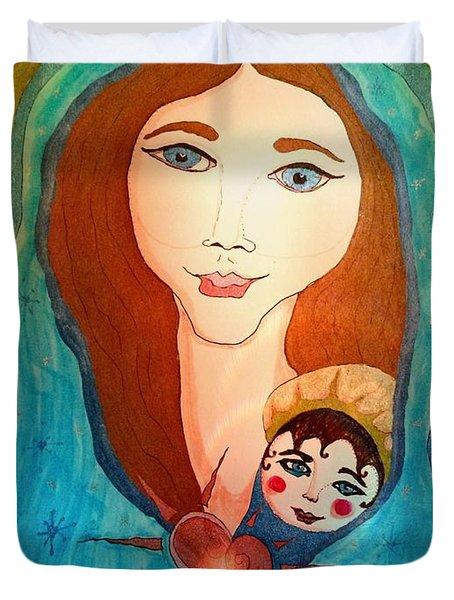 Folk Mother And Child Duvet Cover