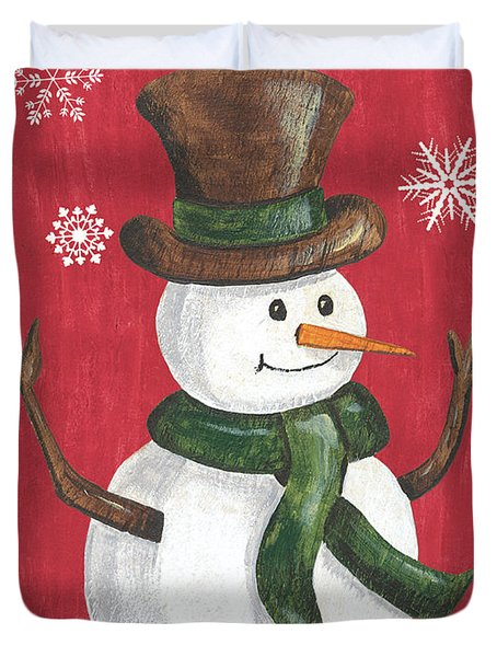 Folk Snowman Duvet Cover