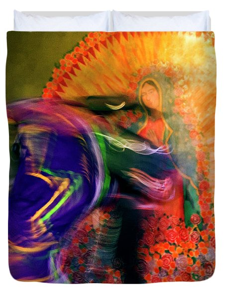 Duvet Cover featuring the photograph Folklorico Abstract Mexican Dancers by Gigi Ebert