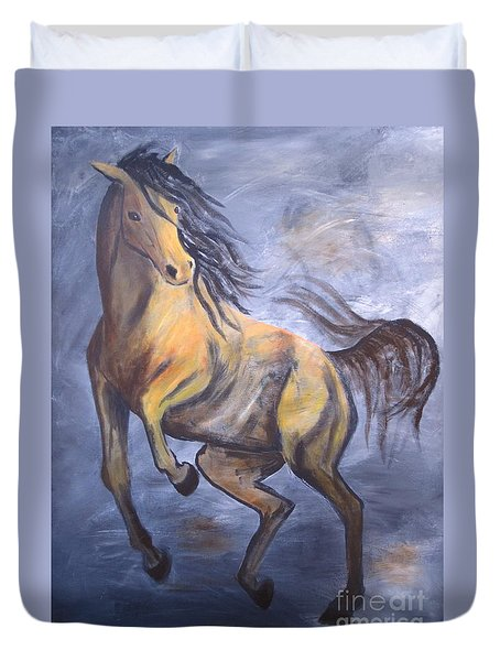 Duvet Cover featuring the painting Follow Me by Laurianna Taylor