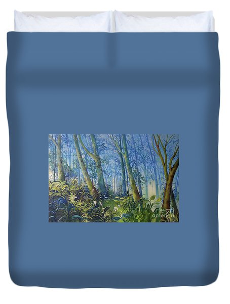 Follow Me Oil Painting Of A Magic Forest Duvet Cover
