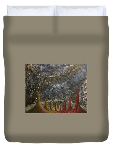 Duvet Cover featuring the mixed media Follow by Steve  Hester