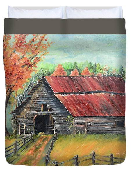 Duvet Cover featuring the painting Follow The Lantern - Early Morning Barn- Anne's Barn by Jan Dappen