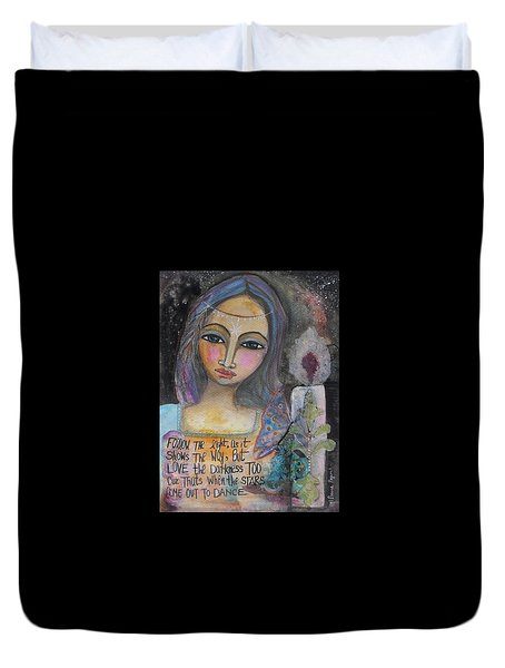 Duvet Cover featuring the painting Follow The Light by Prerna Poojara