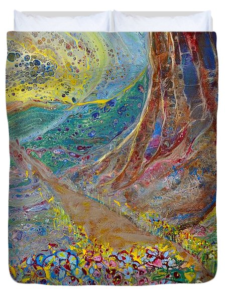 Duvet Cover featuring the painting Follow Your Path by Deborah Nell