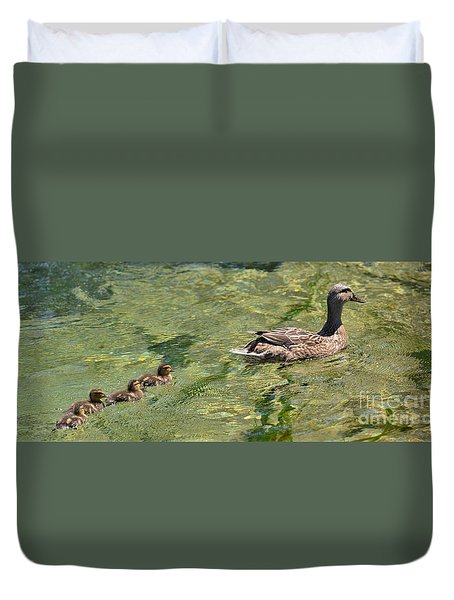 Duvet Cover featuring the photograph Following Mom by Pamela Blizzard