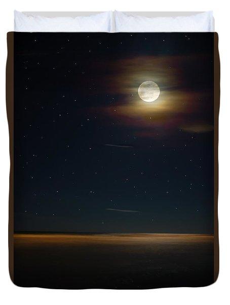 Folly Beach Night Duvet Cover by Jennifer White