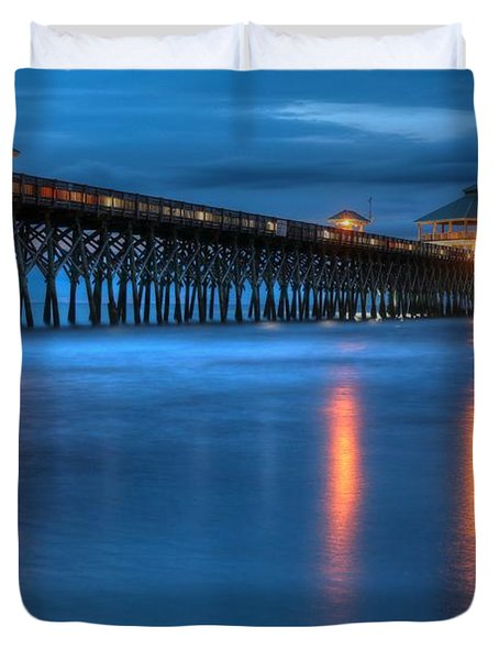 Folly Beach Pier At Blue Hour Charleston South Carolina Duvet Cover