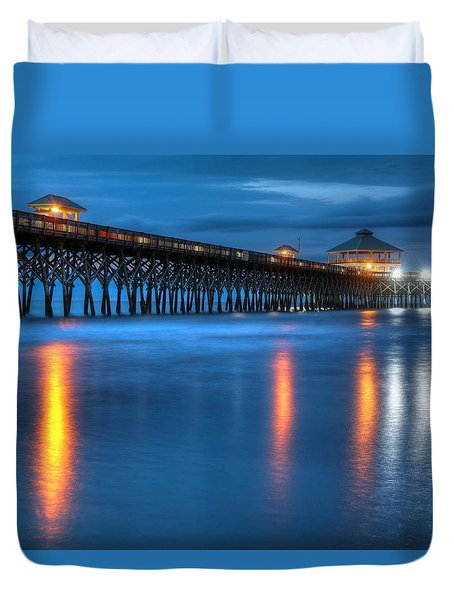 Folly Beach Pier At Blue Hour Charleston South Carolina Duvet Cover
