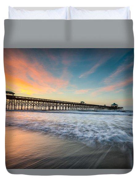 Folly Beach Pier At Dawn - Charleston Sc Duvet Cover