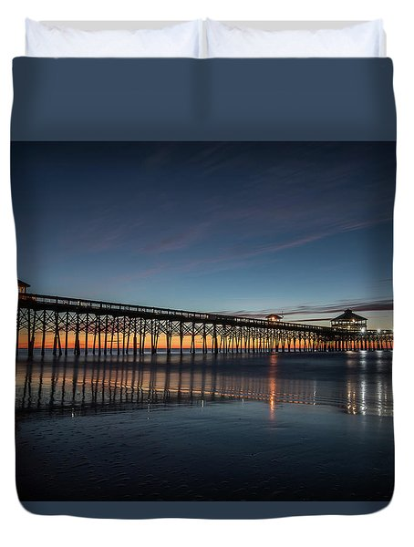 Folly Beach Pier Before Sunrise Duvet Cover