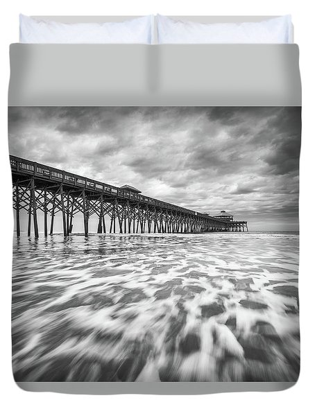 Folly Beach Pier Sc Scenic Seascape Photography Duvet Cover