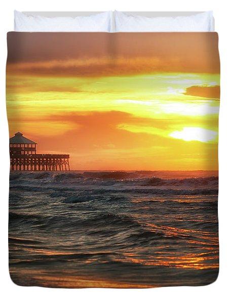 Folly Beach Pier Sunrise Duvet Cover