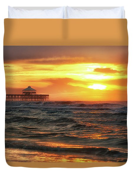 Folly Beach Pier Sunrise Duvet Cover