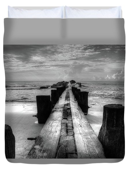 Folly Beach Pilings Charleston South Carolina In Black And White  Duvet Cover