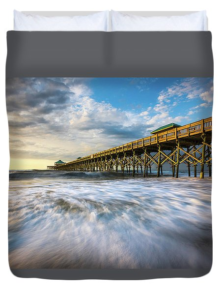 Folly Beach Sc Pier Charleston South Carolina Seascape Duvet Cover