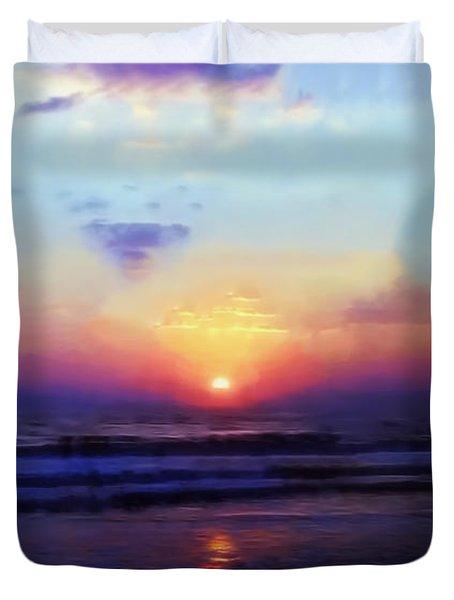 Folly Beach South Carolina Sunrise Duvet Cover