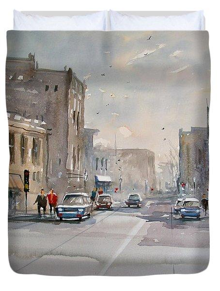 Fond Du Lac - Main Street Duvet Cover by Ryan Radke