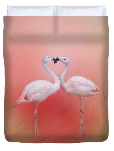 Fond Flamingos Duvet Cover