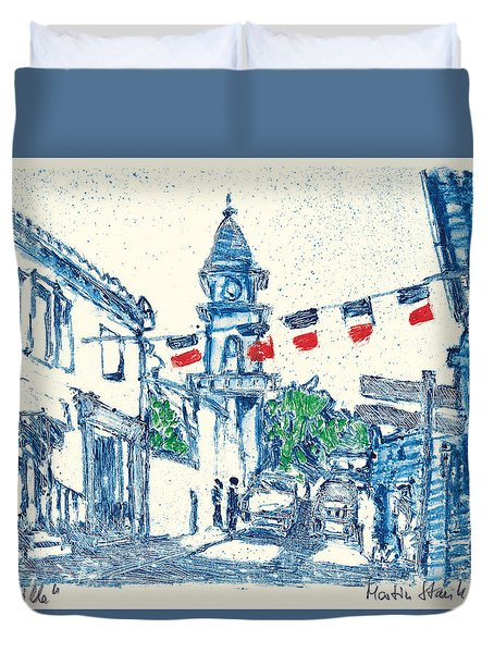 Duvet Cover featuring the painting Fontvieille Village Provence by Martin Stankewitz