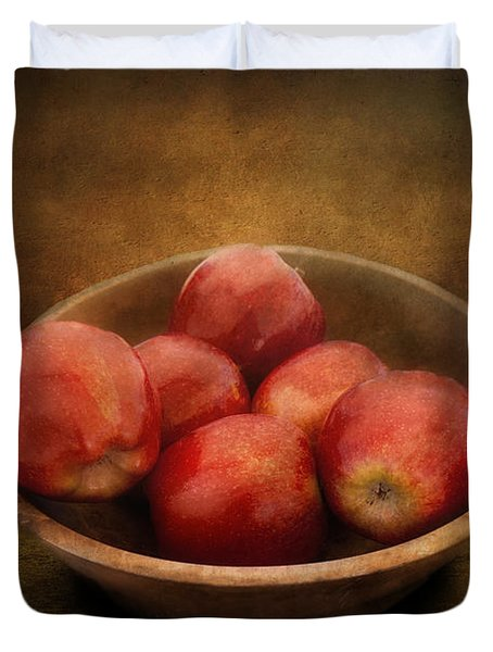 Food - Apples - A Bowl Of Apples  Duvet Cover by Mike Savad