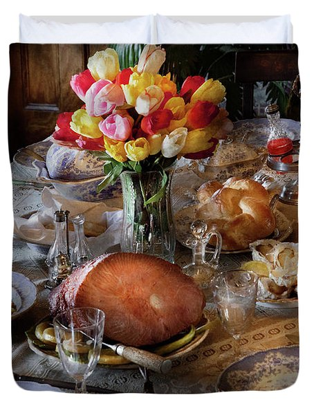 Food - Easter Dinner Duvet Cover by Mike Savad