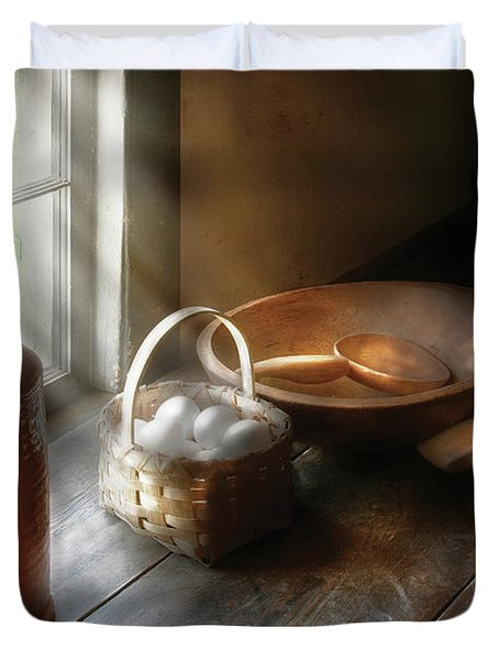 Food - Morning Eggs Duvet Cover by Mike Savad