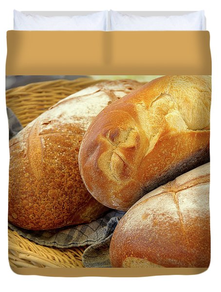 Duvet Cover featuring the photograph Food - Bread - Just Loafing Around by Mike Savad