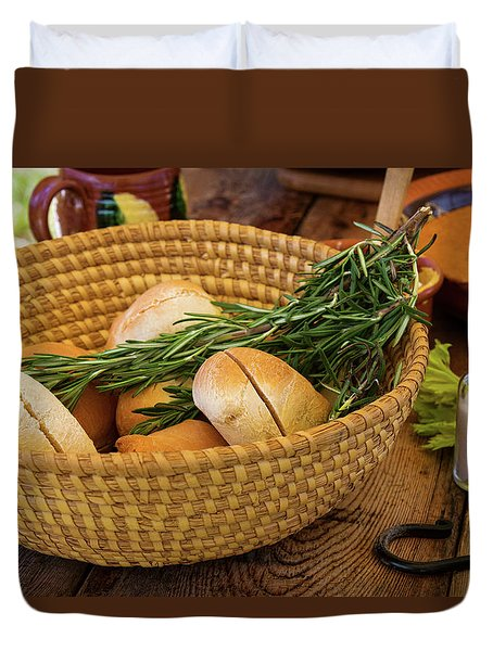 Duvet Cover featuring the photograph Food - Bread - Rolls And Rosemary by Mike Savad