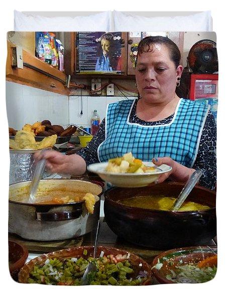 Food Court In Paracho Duvet Cover