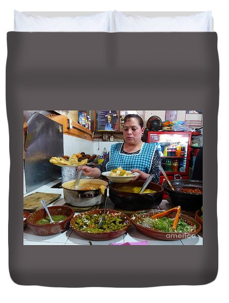 Food Court In Paracho Duvet Cover