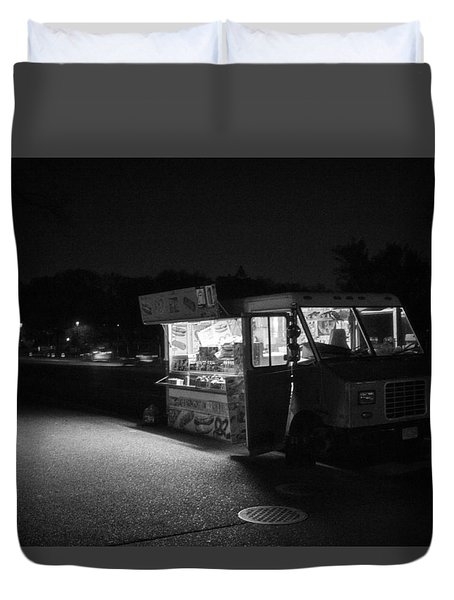 Duvet Cover featuring the photograph Food Truck, Late Hours by Ross Henton