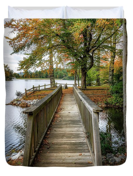 Foot Bridge At Linville Land Harbor Duvet Cover