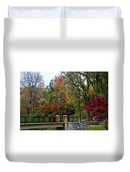 Foot Bridge In The Fall Duvet Cover