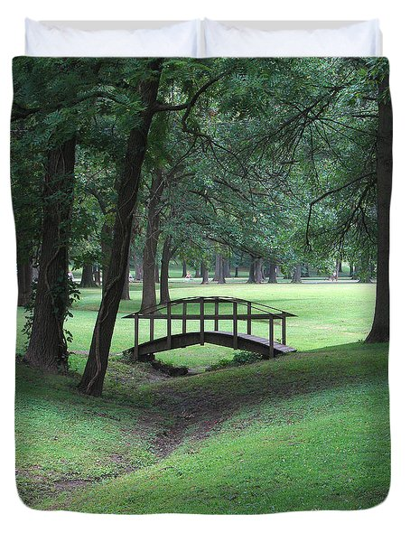 Duvet Cover featuring the photograph Foot Bridge In The Park by J R Seymour