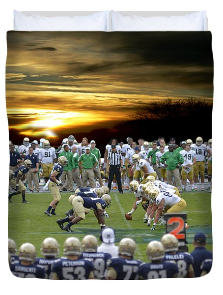 Duvet Cover featuring the photograph Football Field-notre Dame-navy by Ericamaxine Price