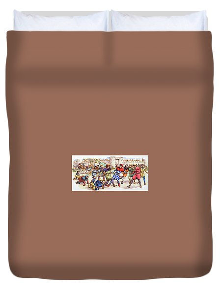 Football In The Middle Ages Duvet Cover by Pat Nicolle