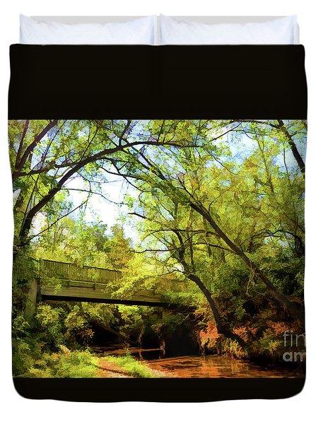 Duvet Cover featuring the photograph Footbridge At Bisset Park - Radford Virginia by Kerri Farley