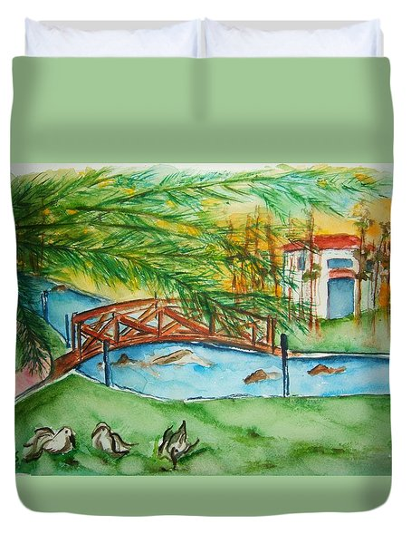 Footbridge Crossing Duvet Cover