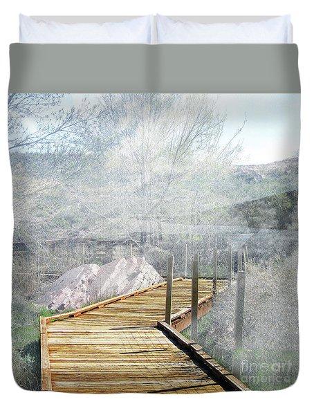 Footbridge In The Clouds Duvet Cover by Deborah Nakano