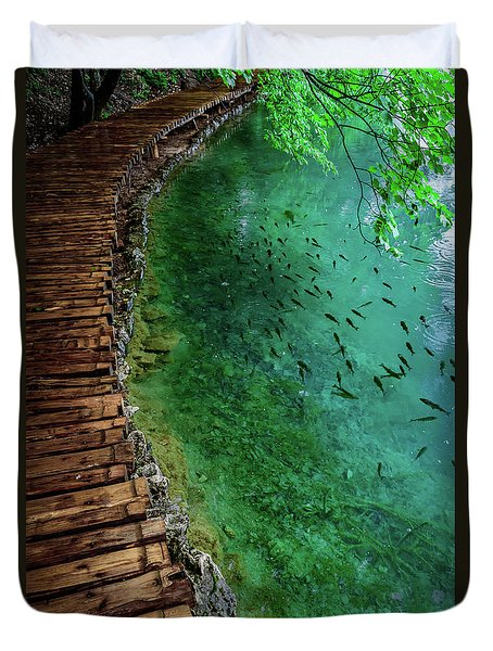 Footpaths And Fish - Plitvice Lakes National Park, Croatia Duvet Cover